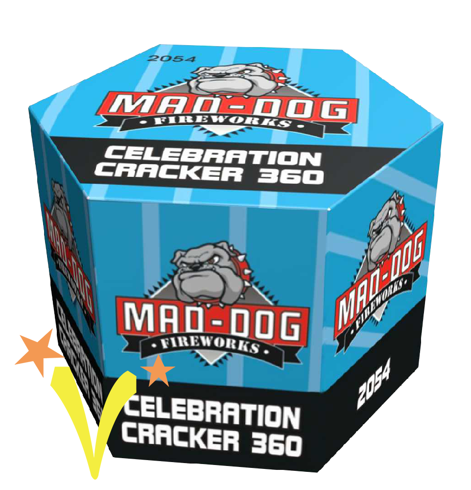 Celebration Cracker 360 shots Mat Mad – Dog Fireworks