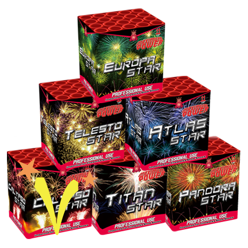 Mega6 Star Assortiment 6 x 20 Shots Geisha Fireworks